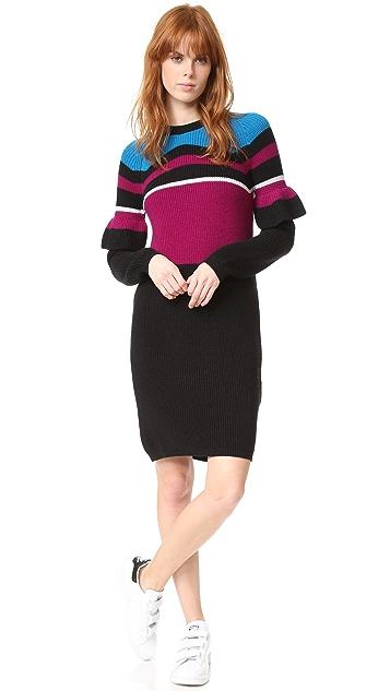 KENZO Rib & Frills Wool Dress