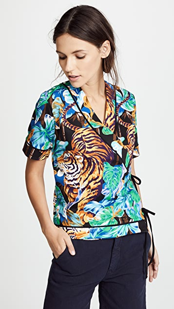 KENZO V Neck Laced Top