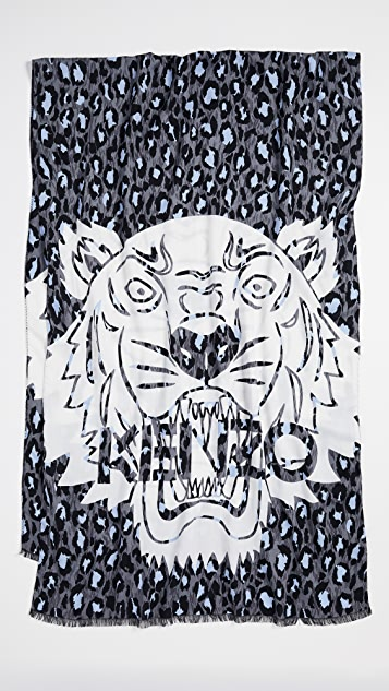 KENZO Leopard Tiger Chest Scarf