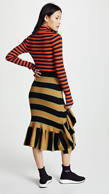 KENZO Striped Ruffle Dress