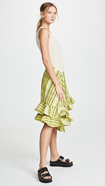 KENZO Asymmetrical Ruffle Strapped Dress