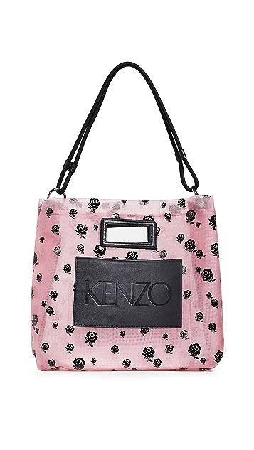 KENZO Сетчатая объемная сумка с короткими ручками Roses