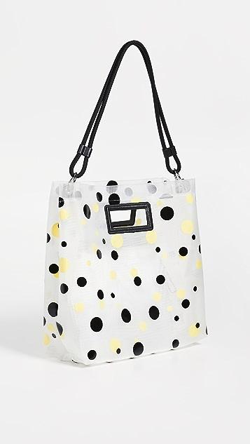 KENZO Сетчатая объемная сумка с короткими ручками в горошек