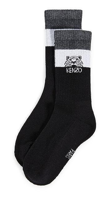 KENZO Полосатые носки с изображением тигра