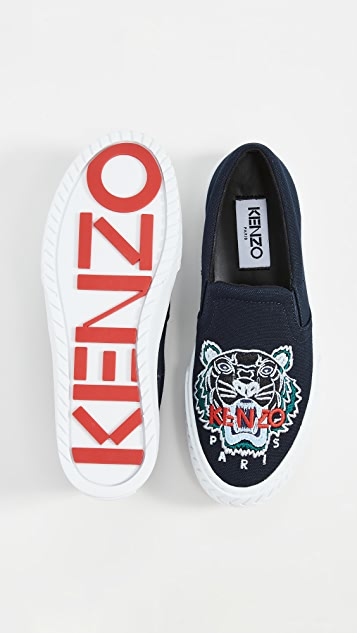KENZO Кроссовки без шнурков K-Skate с изображением тигра