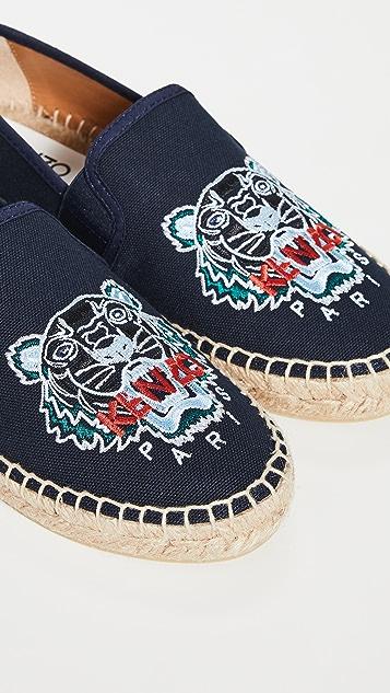 KENZO 弹性虎头编织平底鞋