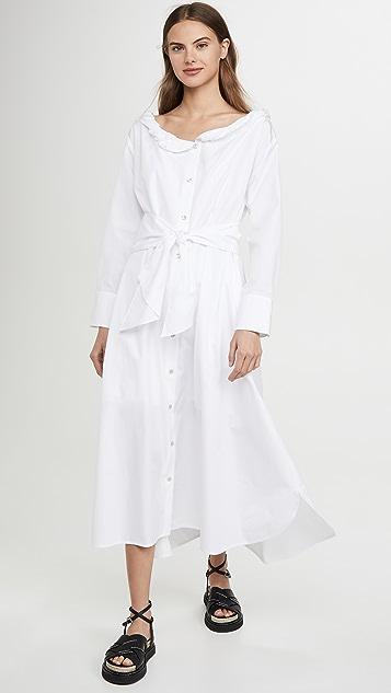 KENZO 衣领卷边长连衣裙