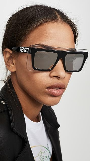 KENZO Flat Top Clear Shield Sunglasses
