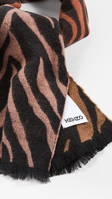 KENZO Tri Color Tigers Stripe Jacquard Scarf