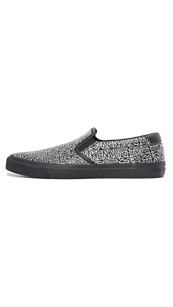 KENZO Velvet Flying Logo Leather Slip Ons
