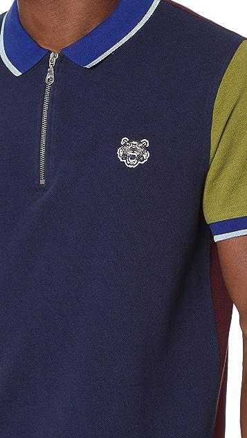 KENZO Colorblock Zip Pique Polo