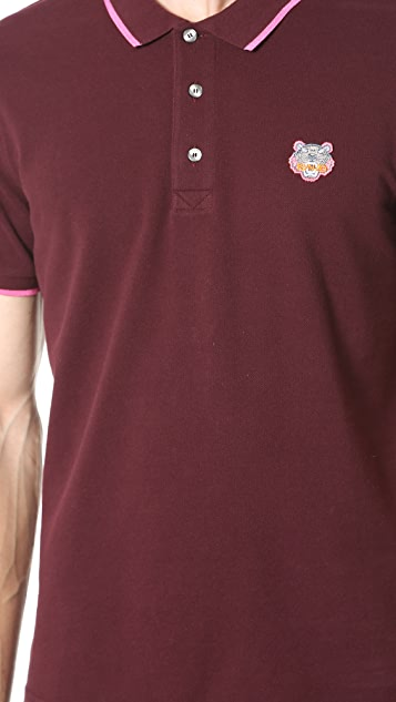 KENZO Tiger Crest Long Sleeve Pique Polo