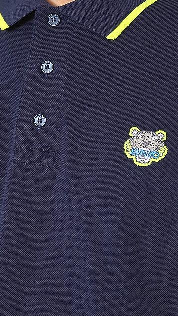 KENZO Cotton Pique Tiger Crest Polo