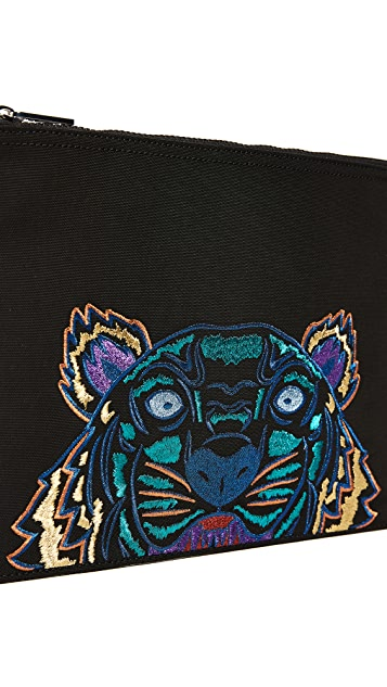 KENZO A4 Tiger Pouch with Metallic Embroidery