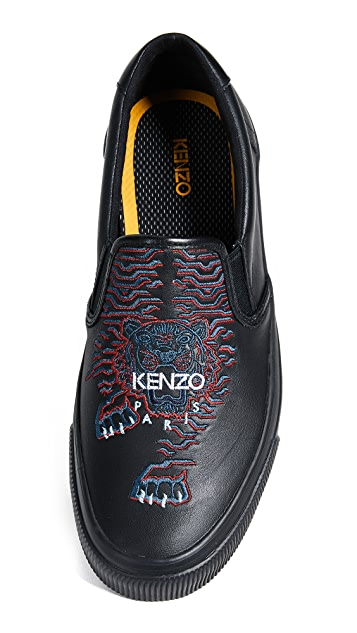 KENZO Tiger Leather Slip On Sneakers