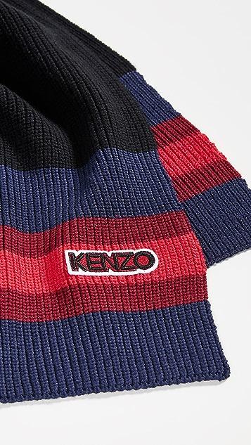 KENZO Logo Tag Knit Scarf