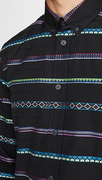 KENZO Striped Long Sleeve Button Down Shirt