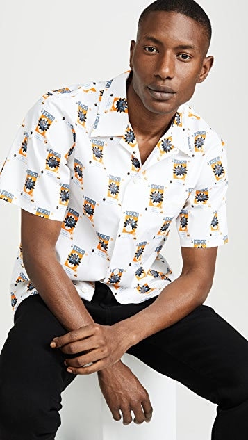 KENZO Rice Bag Print Short Sleeve Button Down Shirt