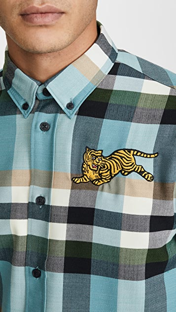 KENZO Jumping Tiger Crest Plaid Button Down Shirt