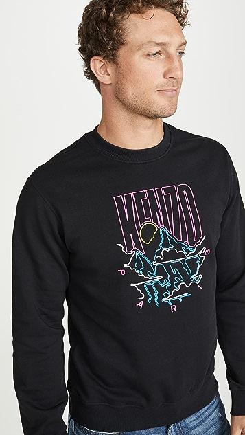 KENZO Mountains Logo Crew Neck Sweatshirt