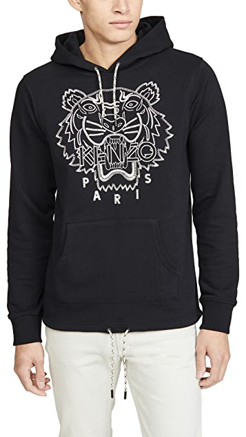 KENZO Blanket Stitch Tiger Pullover Hooded Sweatshirt