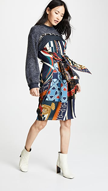 kolor patterned long sleeve dress shopbop