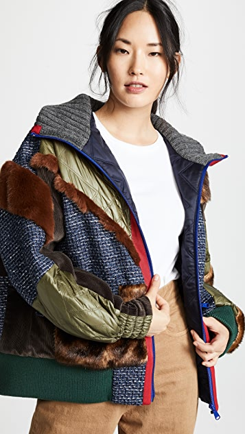Kolor Mixed Media Puffer Jacket