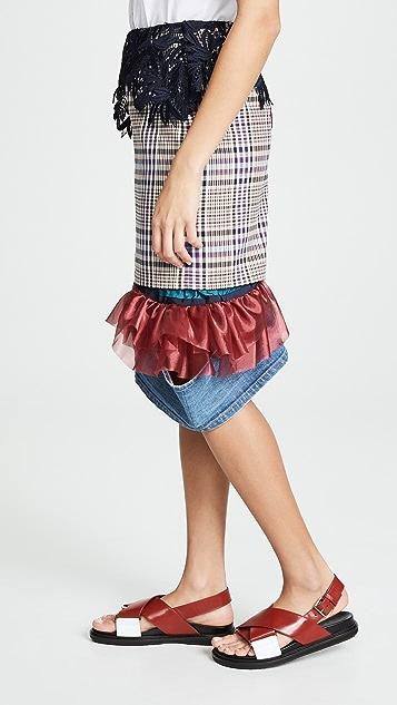 Kolor Plaid Contrast Hem Skirt