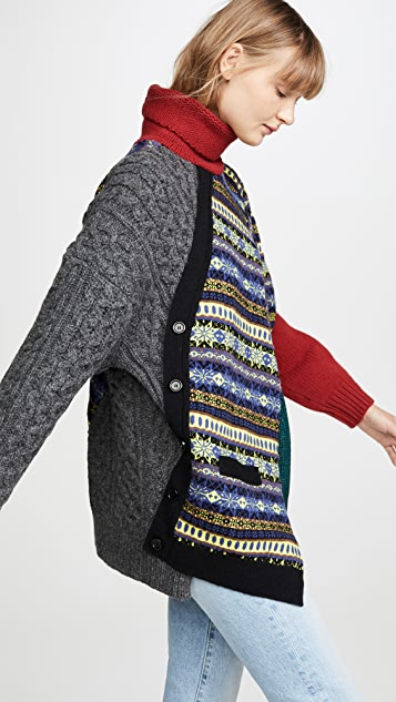 Kolor 混合印花拼接高领毛衣