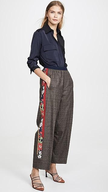 Kolor 侧条纹格子长裤