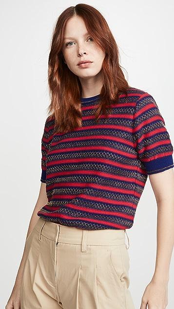 Kolor 条纹短袖毛衣