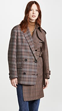 Mixed Plaid Trench