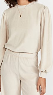 Kondi Velour Long Sleeve Puff Shoulder Top