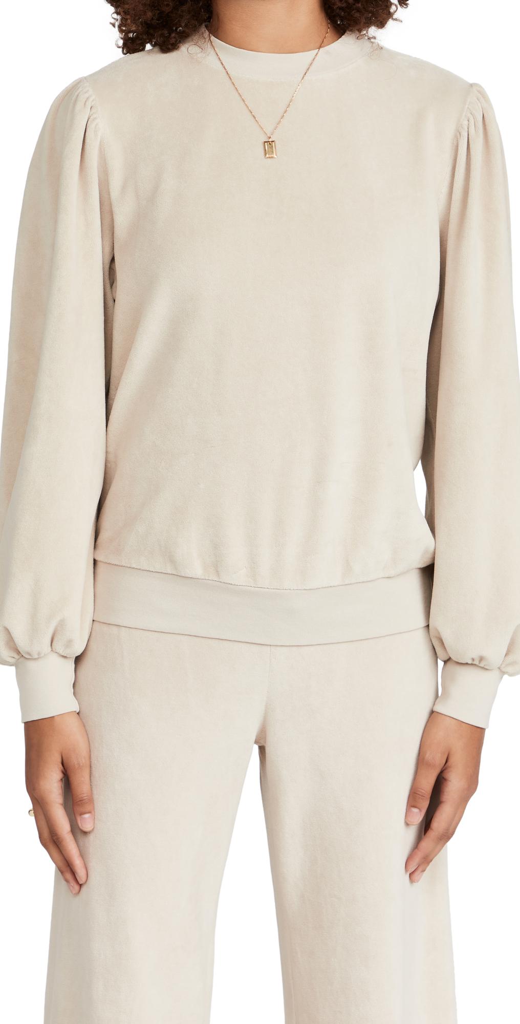 Velour Long Sleeve Puff Shoulder Top