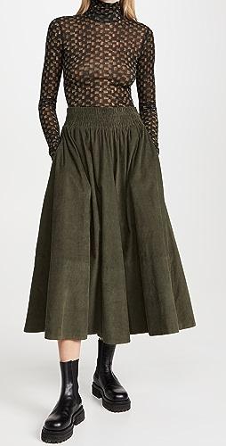Kondi - 灯芯绒圆圈全摆半身裙