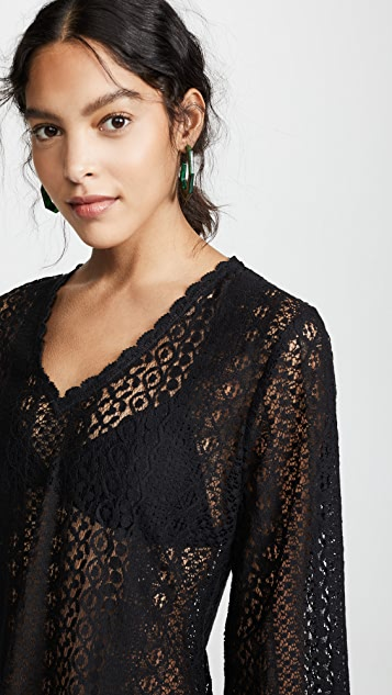 Kos Resort Long Sleeve Lace Cover Up