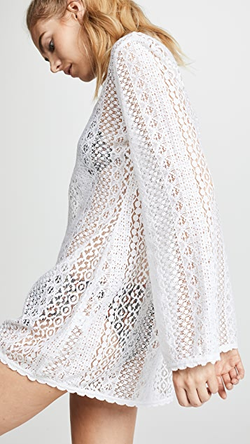 Kos Resort Long Sleeve Lace Cover Up Dress