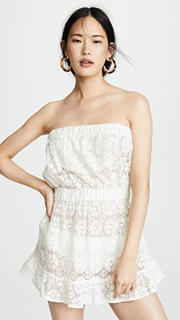 Kos Resort Strapless Lace Cover Up Dress