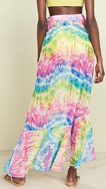 Kos Resort Юбка с запахом Rainbow в технике узелкового батика