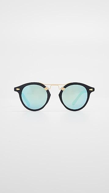 Krewe St Louis Sunglasses - Black/Green
