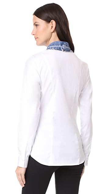 Ksenia Schnaider White Blouse with Denim Collar