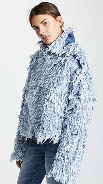 Ksenia Schnaider Denim Fur Jacket