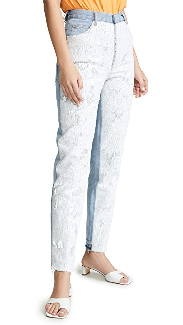 Ksenia Schnaider 升级版牛仔布正面亮片牛仔裤