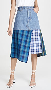 Denim Skirt with a Cotton Panels