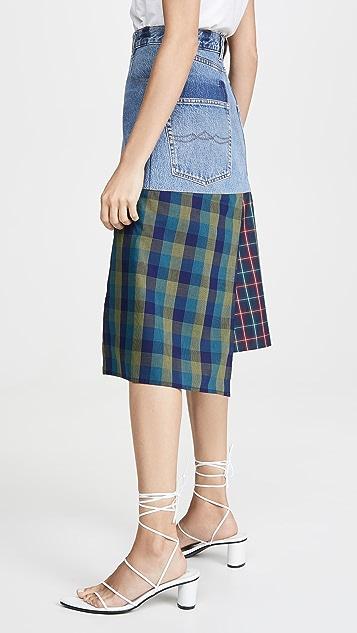 Ksenia Schnaider 棉质拼接牛仔布半身裙