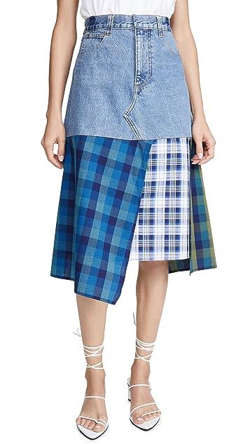 Ksenia Schnaider Denim Skirt with a Cotton Panels
