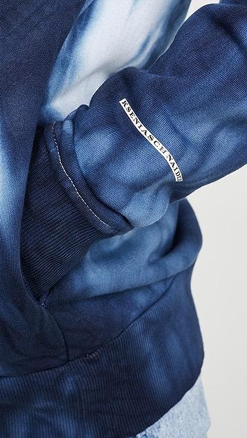 Ksenia Schnaider Толстовка с капюшоном синего цвета в технике узелкового батика