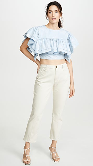 Ksenia Schnaider Cropped Top with Ruffles