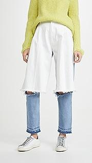 Ksenia Schnaider 浅蓝色和白色半牛仔布牛仔裤