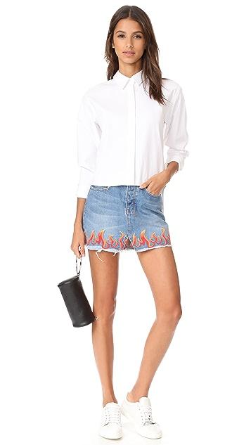 Ksubi Mini Moss Skirt with Flame Embroidery